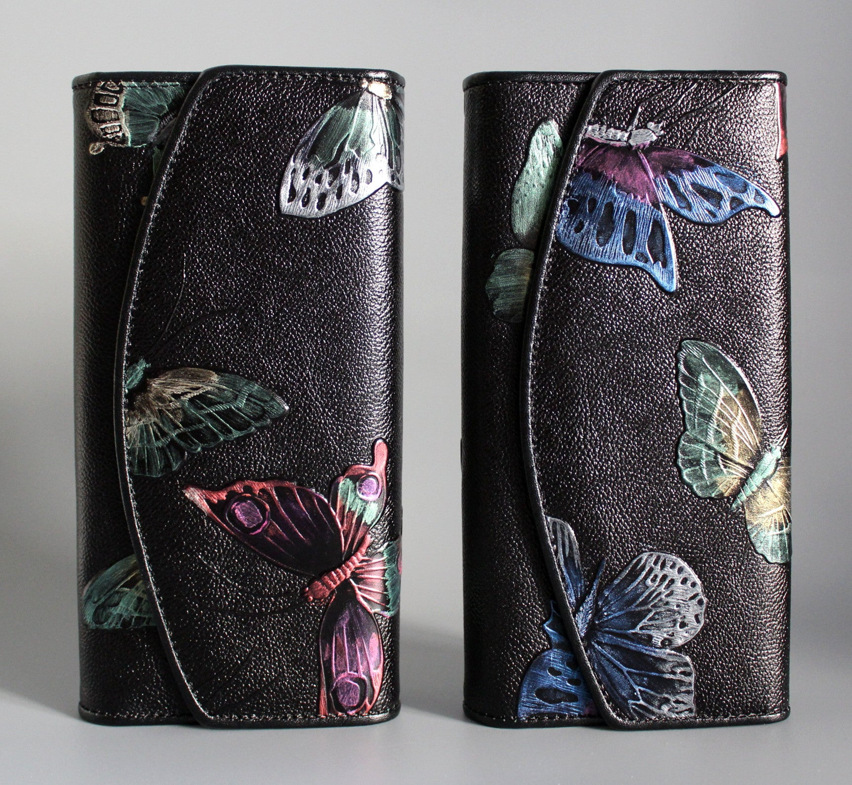 Handmade leather long women painted floral tooled wallet trifold clutch wallet purse wallet