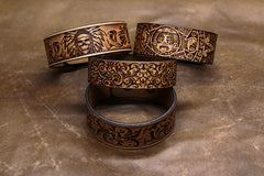 Handmade Leather Bracelet Tooled Xiuhpohualli Personalized Monogrammed Gift Custom Cool Bracelet for Men