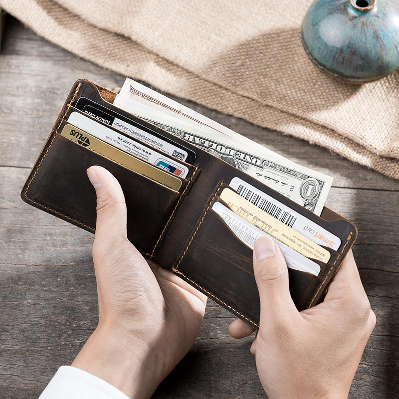 9e629adeb384 Handmade Leather Mens PERSONALIZED MONOGRAMMED GIFT CUSTOM COOL Slim Leather  Wallet Men Small Wallets Bifold for Men