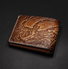 Handmade Leather Short Tooled Alien Wallet Personalized Monogrammed Gift Custom Cool Leather Wallet Slim Wallet for Men