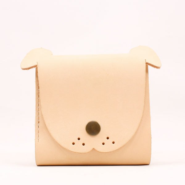HANDMADE LEATHER Women Cute Dog Trifold Short Small WALLET PERSONALIZED MONOGRAMMED GIFT CUSTOM Card Holder Small Wallet