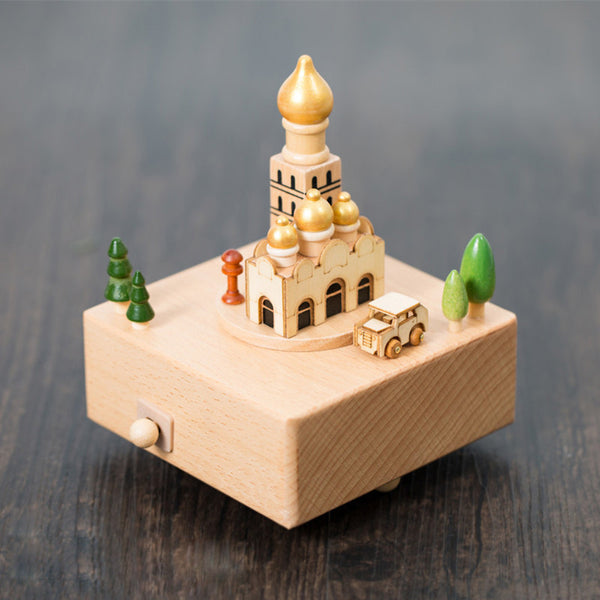 Handmade Wooden Islam Church Music Box Personalized Monogrammed Gift Custom Photo Christmas Valentines Wedding Gift Birthday Gift Baby Gift