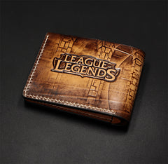 Handmade Leather Short Tooled League of Legends LOL Ezreal the Prodigal Explorer Wallet Personalized Monogrammed Gift Custom Cool Leather Wallet Slim Wallet for Men