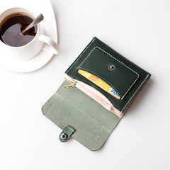 Handmade leather vintage women short wallet clutch coin purse wallet