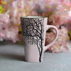 Handmade cute cool  Tree of Knowledge oversized tea cup tall pottery funny coffee milk mug painted big large coffee cup ceramic vintage