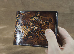 Handmade Leather Short Tooled League of Legends LOL Jax Grandmaster at Arms Wallet Personalized Monogrammed Gift Custom Cool Leather Wallet Slim Wallet for Men