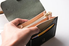 Handmade Leather Mens PERSONALIZED MONOGRAMMED GIFT CUSTOM COOL Short Wallet Card Holder Small Card Wallets for Men Women