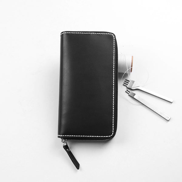 Handmade Leather Black Zipper Long Wallet Personalized Monogrammed Gift Custom Women Clutch Cute Wallet Purse