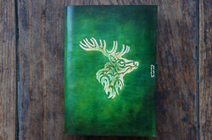 Handmade Leather Notebook Journal Tooled Reindeer A5 Loose-Leaf Travel Book Personalized Monogrammed Gift Custom Women Cute Journal