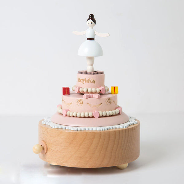 Handmade Wooden Bellet Girl Birthday Cake Music Box Personalized Monogrammed Gift Custom Photo Christmas Valentines Wedding Gift Birthday Gift Baby Gift