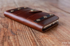 Handmade leather vintage men women long wallet clutch iphone7plus purse wallet