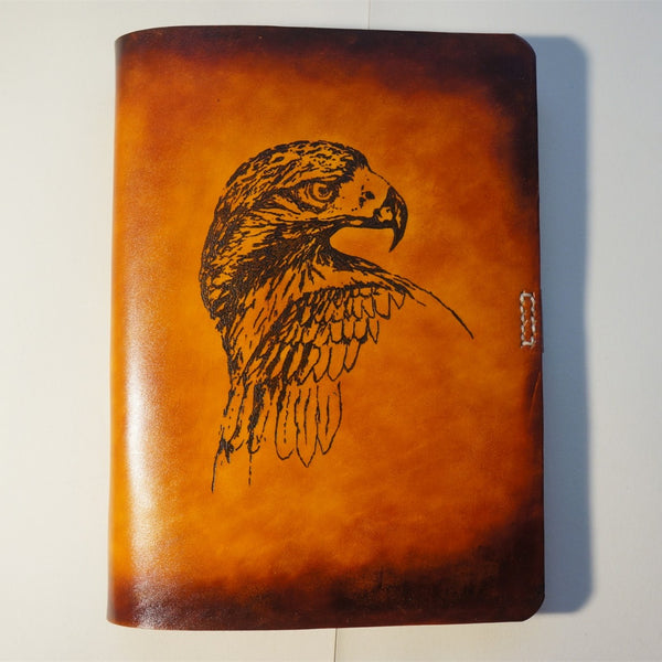 Handmade Leather Notebook Journal Tooled Eagle A5 Loose-Leaf Travel Book Personalized Monogrammed Gift Custom Women Cute Journal
