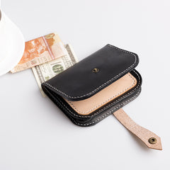 Handmade leather vintage black women PERSONALIZED MONOGRAMMED GIFT CUSTOM Cute short wallet clutch coin purse wallet