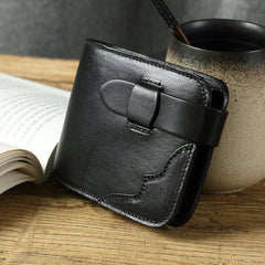 Handmade leather vintage women short wallet purse wallet