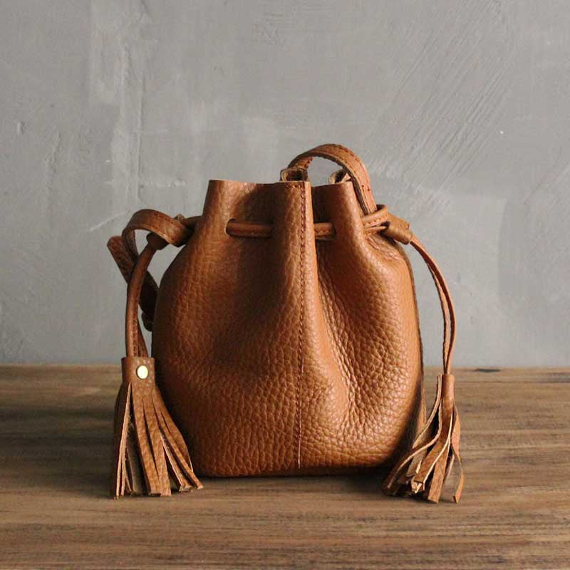 Handmade leather vintage women bucket bag shoulder bag crossbody bag