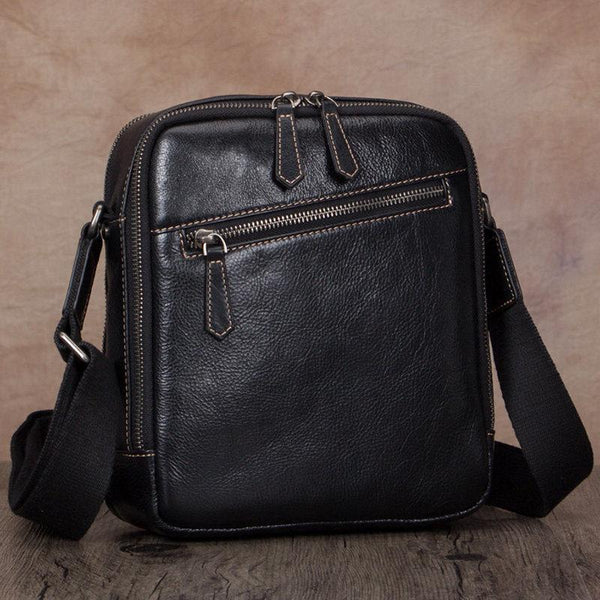 Black Messenger Bag Zip Side Shoulder Bag