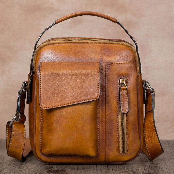 Brown Leather Satchel Bag Vintage Leather Shoulder Side Bag