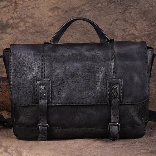 Mens Vintage Leather Messenger Bag Side Shoulder Bag