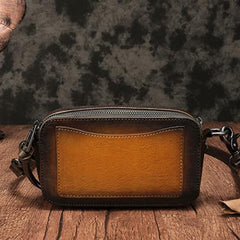Vintage Leather Clutch Bags Small Cube Purse Shoulder Crossbody Bags