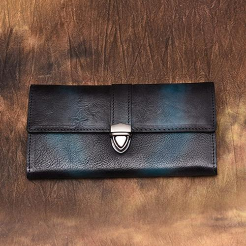 Blue Wallet Womens Leather Clutch Wallet Long Purse