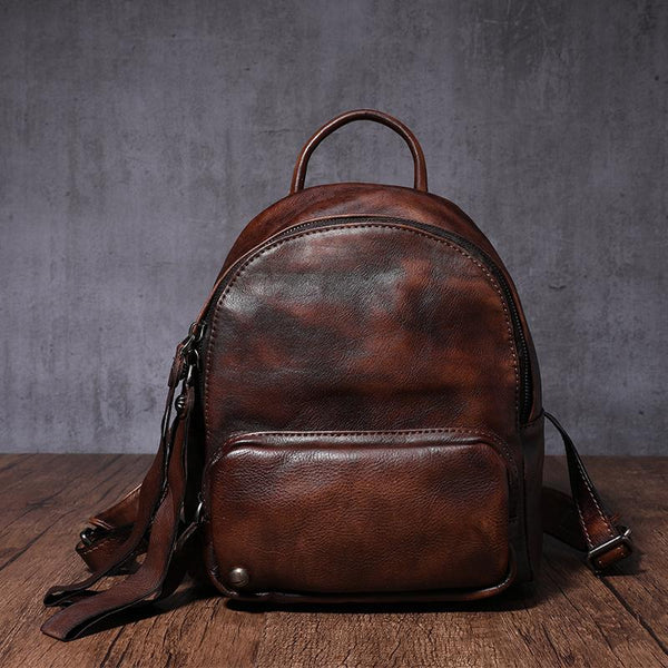 "10"" Small Vintage Brown Leather Backpack Womens Female Backpack Brown Backpack Purse"