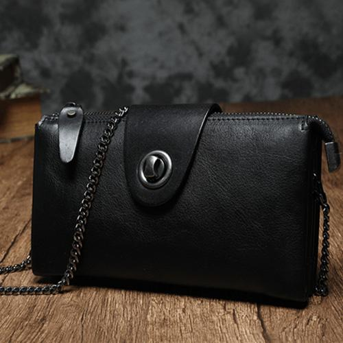 Black Leather Wallet Womens Leather Clutch Wallet Purse Bag