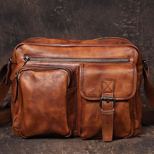 Vintage Leather Messenger Bag Side Shoulder Bag