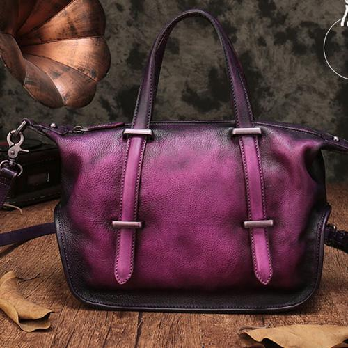 Vintage Leather Purse Handmade Purple Tote Handbags Shoulder Crossbody Bags