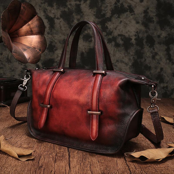 Vintage Leather Purse Handmade Red Tote Handbags Shoulder Crossbody Bags