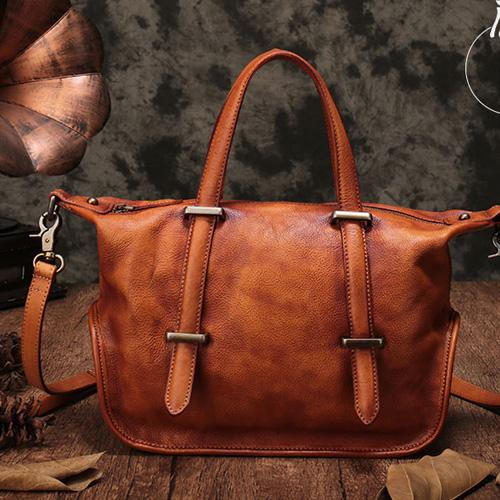 Vintage Leather Purse Handmade Brown Tote Handbags Shoulder Crossbody Bags