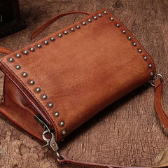 Vintage Leather Shoulder Bag Square Crossbody Bag