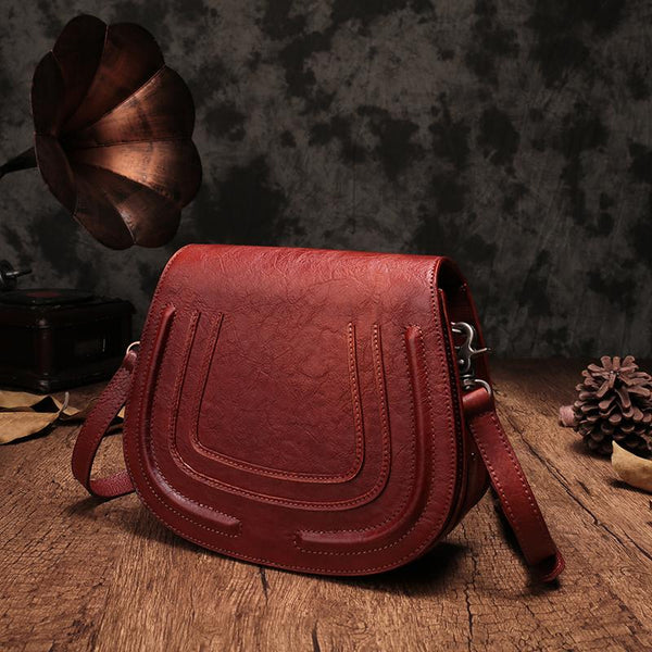 Red Vintage Leather Saddle Shoulder Bag Purse