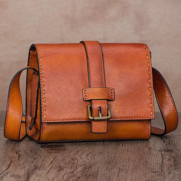 Tan Leather Shoulder Bag Mini Satchel Bag Purse