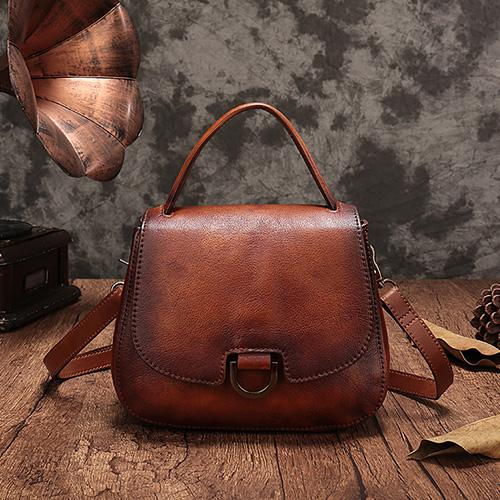 Vintage Leather Shoulder Bag Dome Satchel Purse Bag