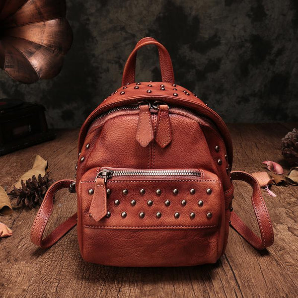 Red Vintage Leather Small Rivet Backpack Shoulder Bag Purse