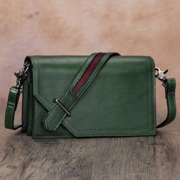 Square Flap Over Crossbody Bag Green Shoulder Bag