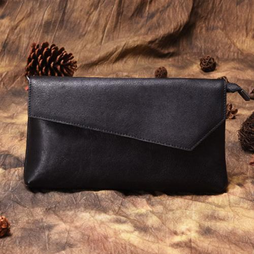 Black Leather Wallet Womens Leather Clutch Wallet With Strap