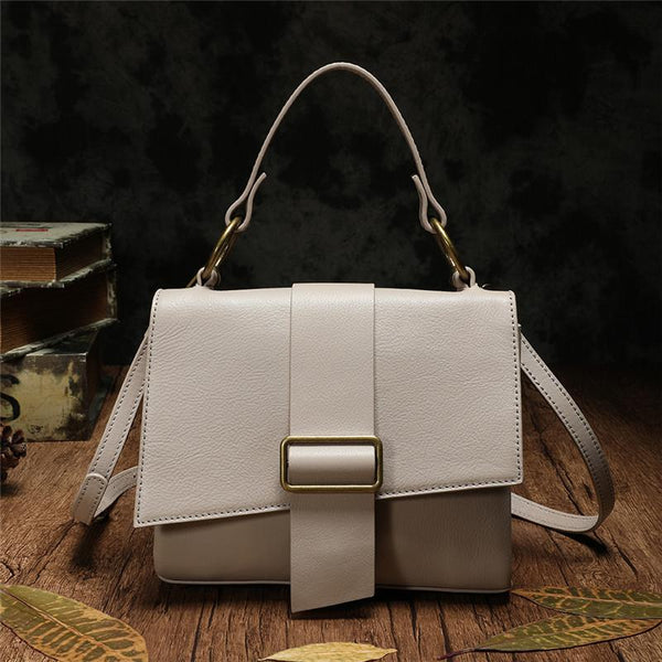 White Leather Satchel Bags Shoulder Purses