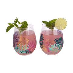 Sunnylife | Stemless Cocktail Glasses | Electric Bloom