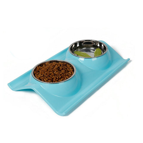elevated dog bowl blue