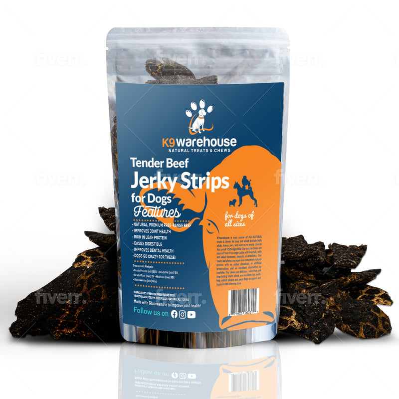 K9warehouse Beef Jerky Treats for Dogs - 1 Pound