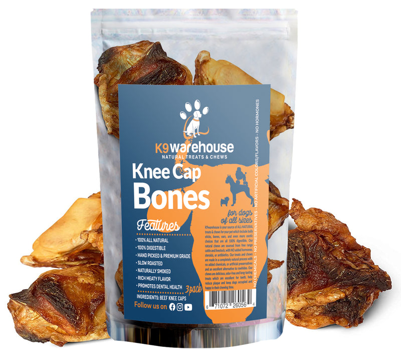 Knee Cap Bones for Aggressive Chewing Dogs - Long Lasting, 100% Natural Dog Chews - Rich Meaty Flavor, Chew Bones for Dogs of All Sizes