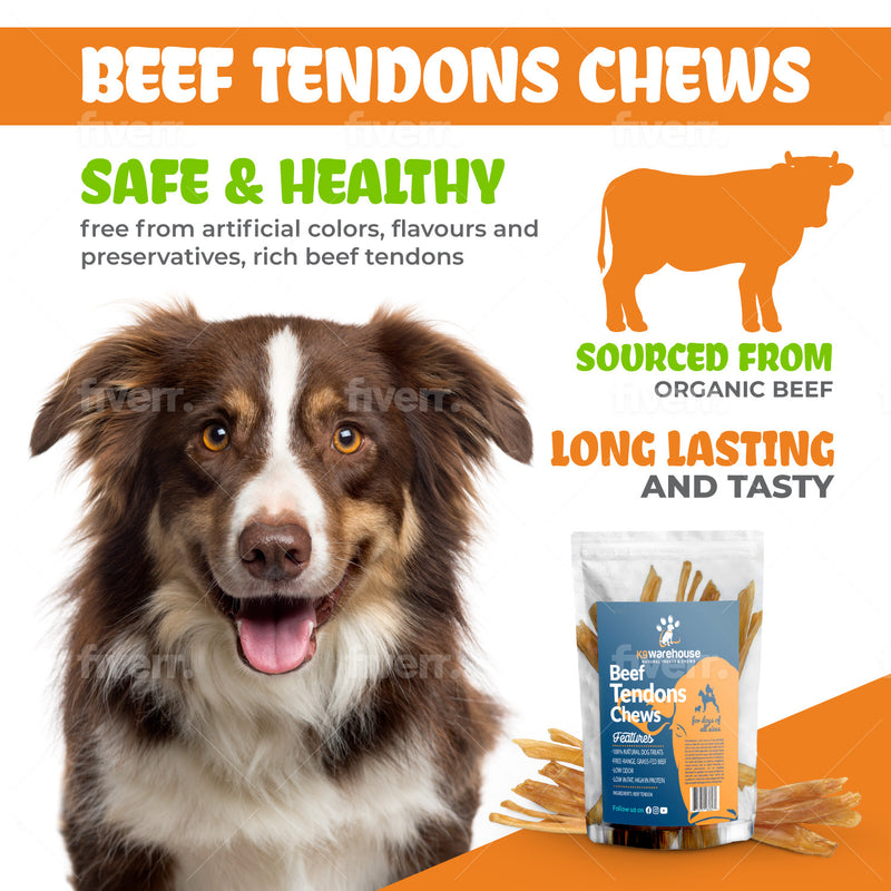 Beef Tendon Chews for Dogs - Single Ingredient All Natural Dog Treats - Dog Chew Sticks for Dogs of All Sizes, 7-9 Inch -