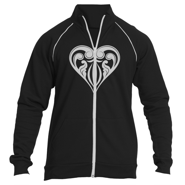 Hearts Black Ripcord Jacket - Premium Poker Player Hoodies, Jackets, & T-Shirts | GrindPoker