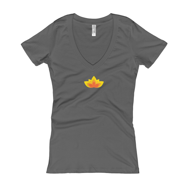 Lotus V-Neck T-shirt (Women's) - Premium Poker Player Hoodies, Jackets, & T-Shirts | GrindPoker
