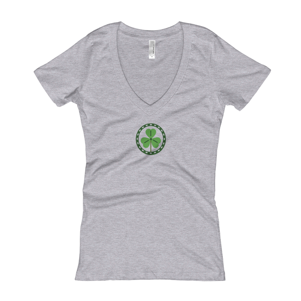 Clover V-Neck T-shirt (Women's) - Premium Poker Player Hoodies, Jackets, & T-Shirts | GrindPoker