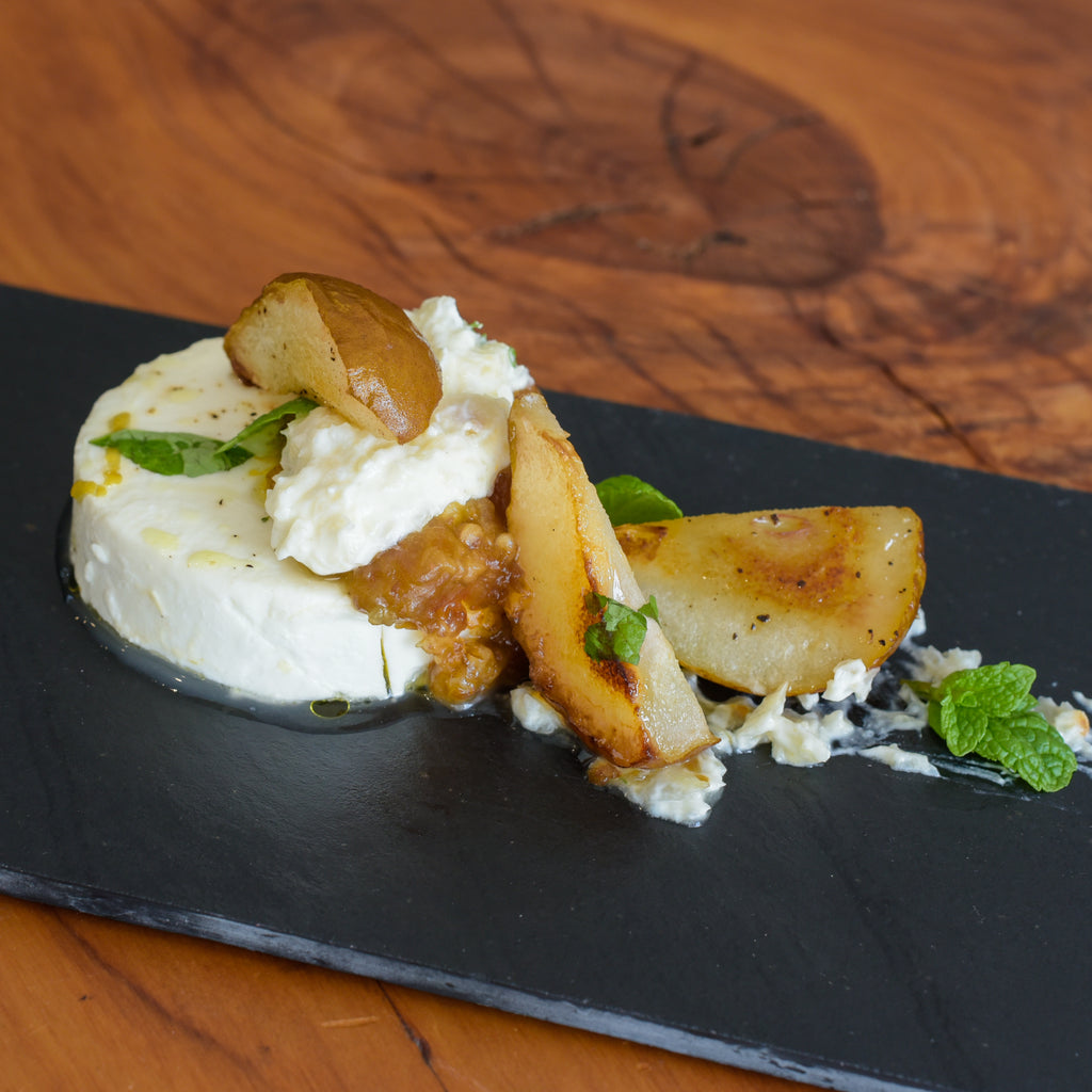 Roast Pear and Baked Goat Cheese with Date Puree & Garlic Cream
