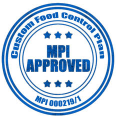 Official MPI Approved Stamp - Custom Food Control Plan - Registration Number MPI 000729/1