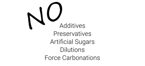 "Stylised, capitalised ""No"" placed top left of a column containing the words ""additives, preservatives, artificial sugars, dilutions, forced carbonations"". Black on white."