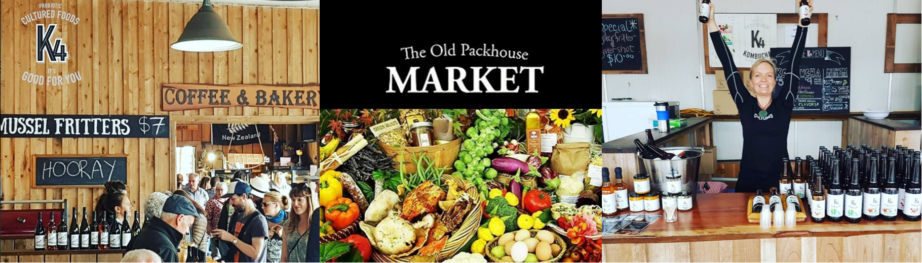 An image of a busy marketplace at The Old Packhouse Markets in Kerikeri, the image shows lots of stall holders and lots of customers who are attending the stalls to taste, test and try a range of different products (Kombucha, fermented foods, wine, hangi, seafood, coffee, pies, cake, fresh vegetables), the marketplace is rich in timber panelling and signworking.